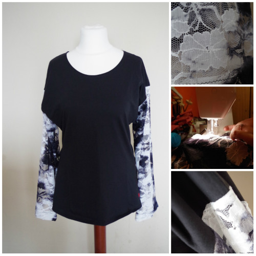 collage koszulka zalando czarna z koronka